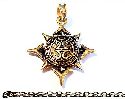 Viking Pendant STAR OF AESIR + CHAIN 24ct Ancient Amulet Vintage Antique Jewelry