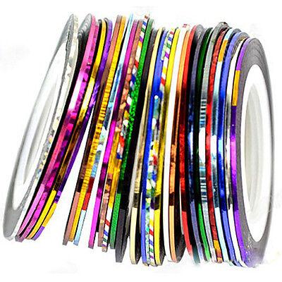 Fashion 10X Colors Rolls Striping Tape Line Nail Sticker DIY Kit Art UV Gel Tip