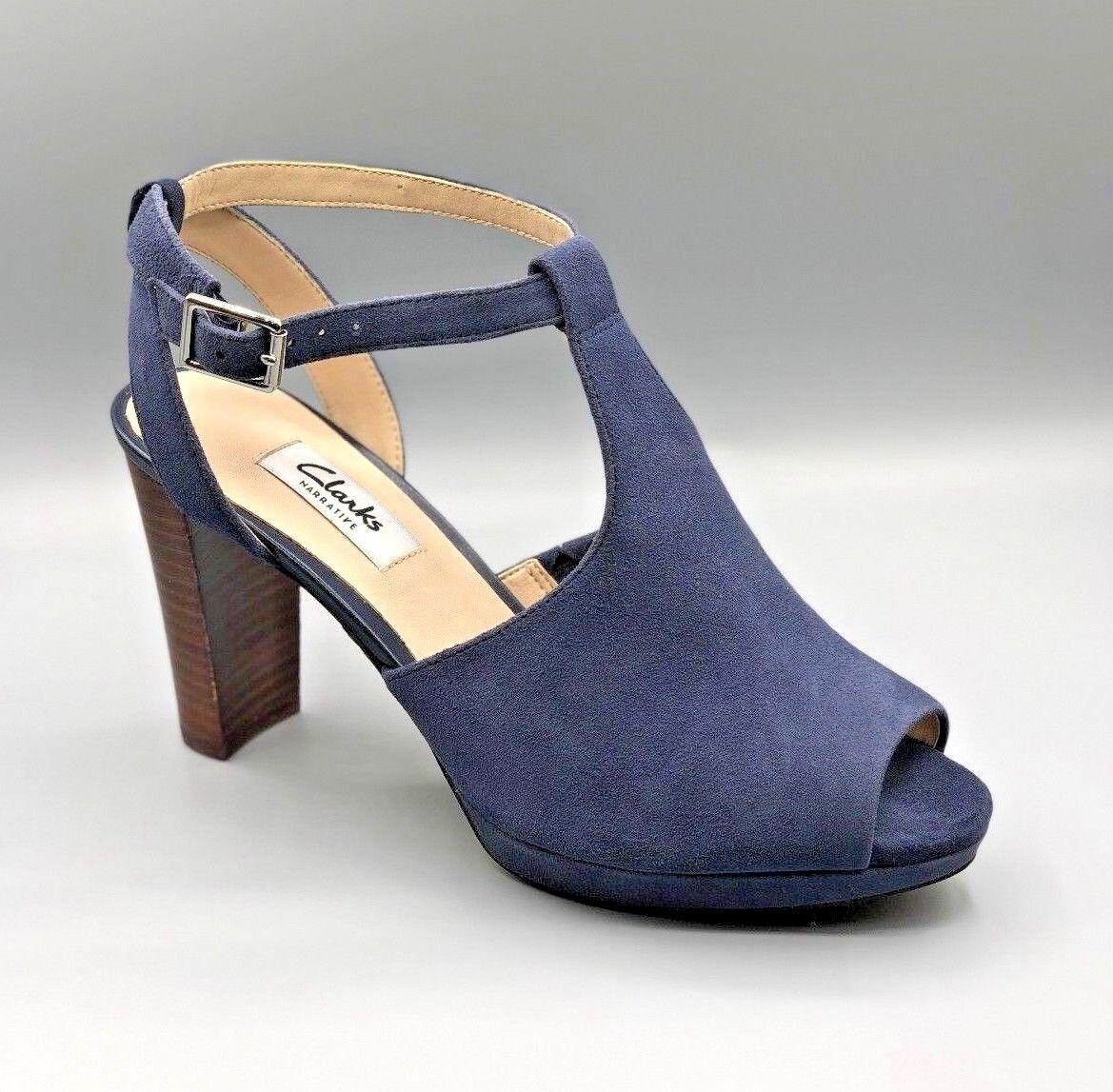 Nuevo Clarks  Kendra encanto encanto encanto  Damas Peep Toe Sandalias De Ante Azul Marino Uk 6 D  sin mínimo