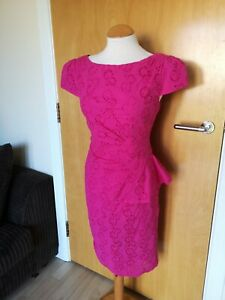 Ladies-PER-UNA-Dress-Size-12-Pink-Broderie-Anglaise-Wiggle-Pencil-Party-Evening