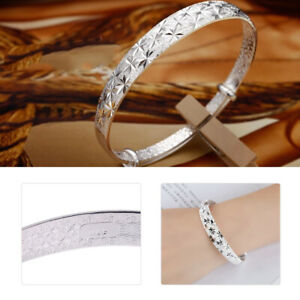 Damen-Tibet-Silber-Armband-Armreif-Bracelet-Bangle-Schmuck-Armspange-Cuff-tp