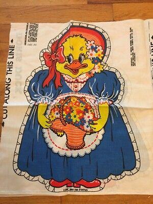 Doris Duck Fabric Panel Vintage Pillow Doll Stuff Sew Flowers Bonnet
