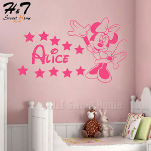 Cartoon-Minnie-Mouse-Customized-Name-Vinyl-Wall-Sticker-Decal-Kid-Baby-Girl-Room