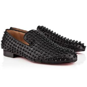 2f9fd9e5389 Image is loading AUTH-Christian-Louboutin-ROLLERBOY-SPIKES-FLAT-Calf-Loafers -