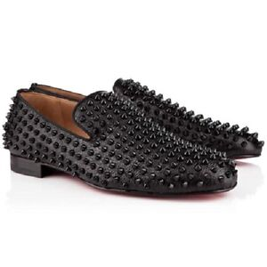 20e8810aee5e Image is loading AUTH-Christian-Louboutin-ROLLERBOY-SPIKES-FLAT-Calf-Loafers -