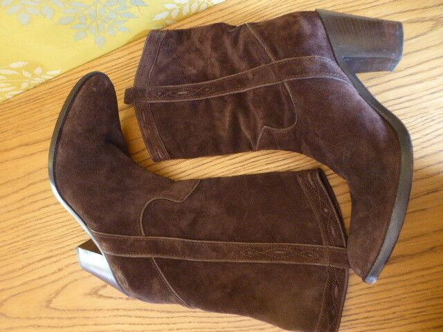 FRU.IT botas style santiag 100 % % % Cuir daim marrón italie t 40 parfait état 50d9ef