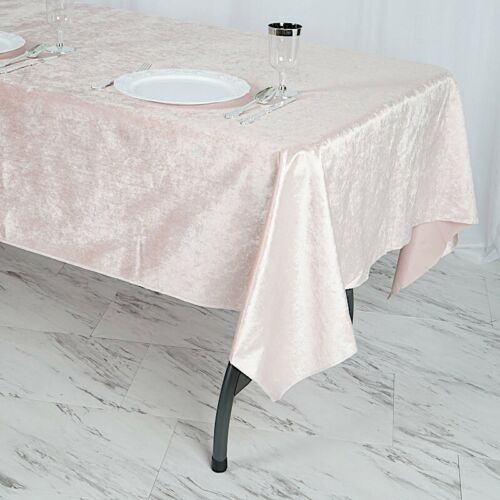 "BLUSH 60/""x102/"" Premium Velvet Rectangular Tablecloth Wedding Events Party Linens"