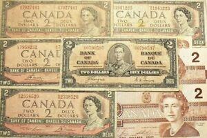 1937-1954-1974-1986-Canada-2-Dollars-Lot-of-8-Banknotes-5337
