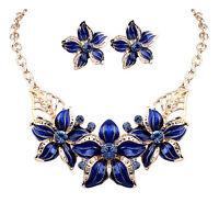 New Fashion Jewelry Pendant Crystal Choker Statement Chunky Blue Flower Necklace