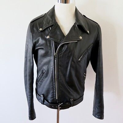 VINTAGE ORIGINAL BROOKS STYLE 711 LEATHER JACKET POLICE SIZE 42 COWHIDE