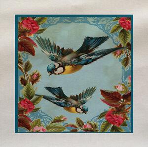 bleu-oiseaux-roses-Tissu-Coton-Panel-Faire-Un-Coussin-Tapisserie