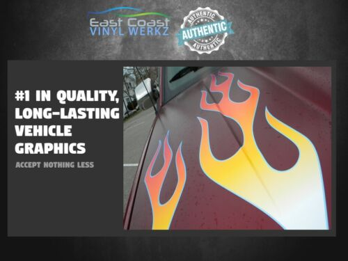 Hot Rod Flame decals 2pc set for Mopar Chevy Ford fenders cowl hood 4x4 car