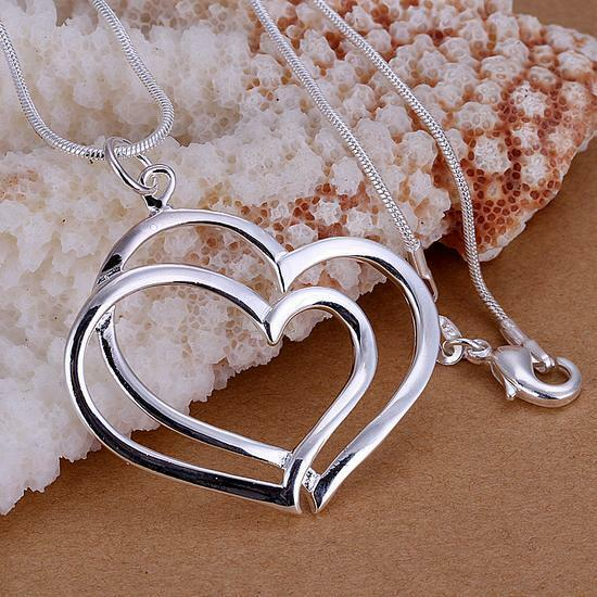 Fashion cute nice lovely Silver Charm Heart Beautiful women Necklace P108