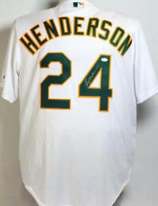 Ricky Henderson Autographed Oakland A's White Majestic Jersey - JSA W Auth *R4