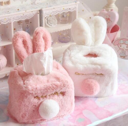 Plush Cute Rabbit ear Tissue Box Napkin box toilet paper dispenser case holder