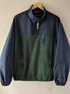 VTG-TOMMY-HILFIGER-Golf-Green-Blue-P-1-2-Zip-Pullover-Nylon-Fleece-Men-s-L