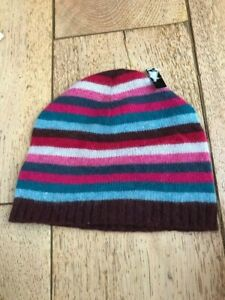 monsoon striped beanie angora rich wool brown teal pink grey bnwt one size small
