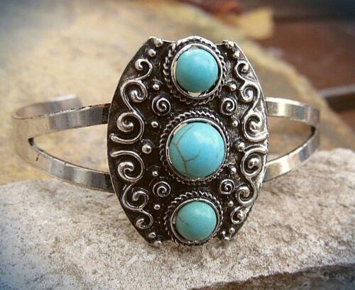 attraktive armspange weißmessing türkis similis ethno folklore indianer stil