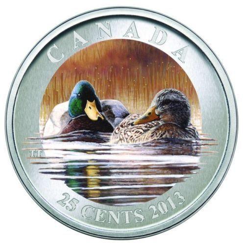 2013 25-CENT COLORED COIN DUCKS OF CANADA THE MALLARD