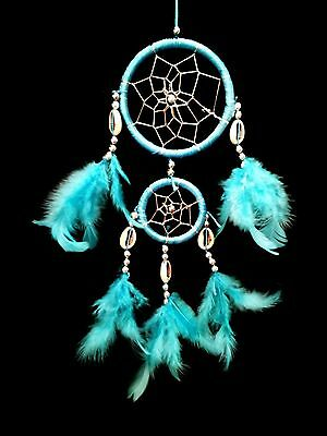 Handmade Dream Catcher with feathers wall or car hanging ornament-2BLU