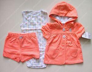 29a2c08ad Carter s baby girl orange seahorse orange hooded jacket shorts ...