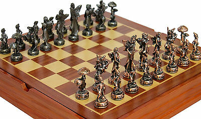 Exceptionnel ELF THEMED PEWTER Chess Set With Nice Wooden Box And Board