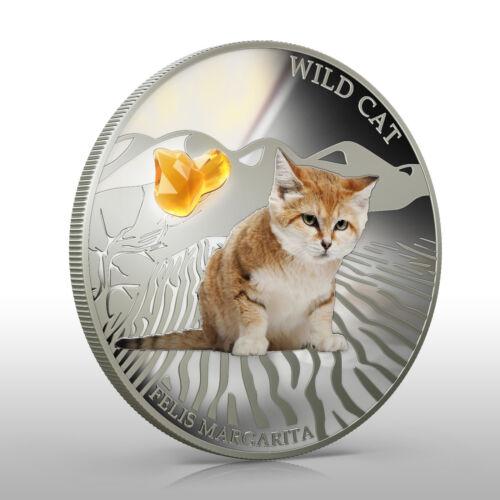 Fiji 2013 Wild Cat FELIS MARGARITA Sand cat Dogs /& Cats 1 Oz Proof Silver Coin