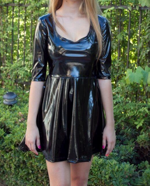Black Wet Look Baby Doll Skater Dress Mini Above Knee Spandex Shiny