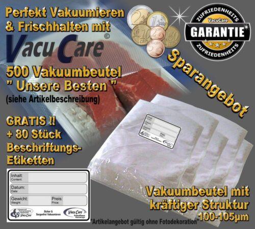 Struktur plus 80 Etiketten GRATIS ! 500 Vakuumbeutel  16 x 25cm  goffriert