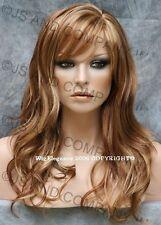 Glamorous Long Natural Wavy Wig Auburn blonde  Mix Full Bangs JSPP RS29