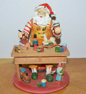 SANTA-039-S-WORKSHOP-MUSICAL-CHRISTMAS-DECORATION-RESIN-amp-WOOD
