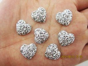 DIY NEW 20PCS silver Resin Heart flatback Scrapbooking for phone/wedding/<wbr/>craft
