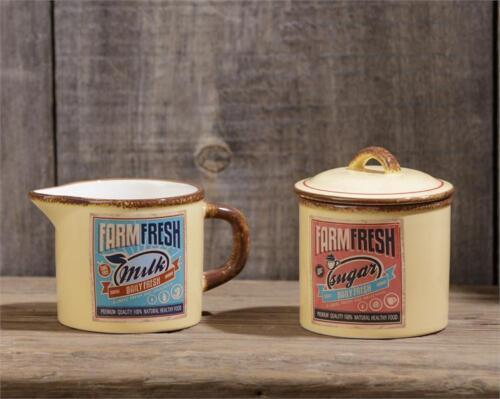 New Farmhouse Chic Retro Diner Vintage Style FARM FRESH CREAM SUGAR Jar Bowl Set