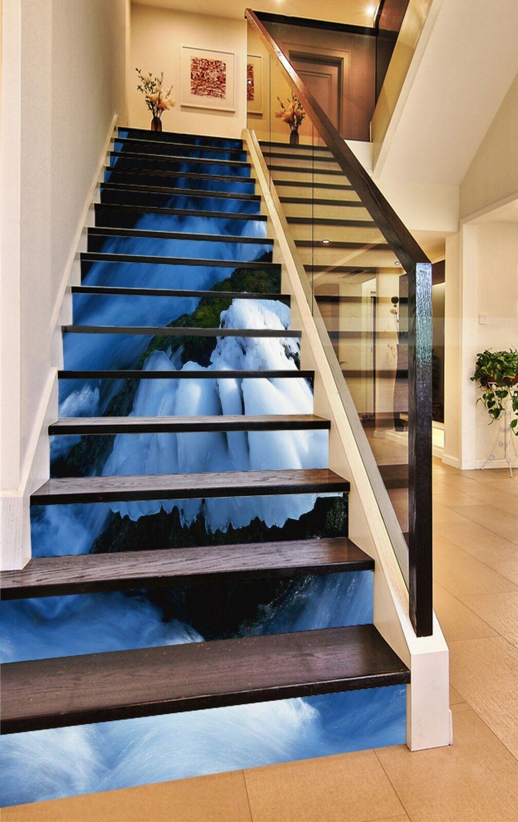 3D  Weiß Snow Stair Risers Decoration Photo Mural Vinyl Decal Wallpaper CA