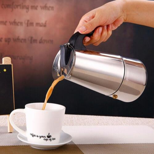 Acier Inoxydable Large Bas Home Cafetière Moka Espresso Maker Percolateur Cuisinière