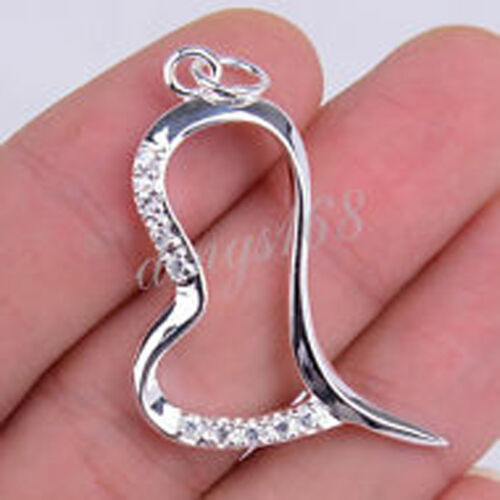 Argent Sterling 925 Nickel 38 mm sans grande courbe Open Heart Crystal Pendentif E642