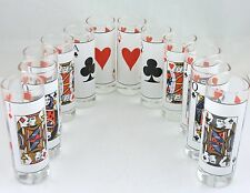 VINTAGE TALL SHOT GLASS SET 12 PLAYING CARDS PRINTED BARWARE GLASSWARE