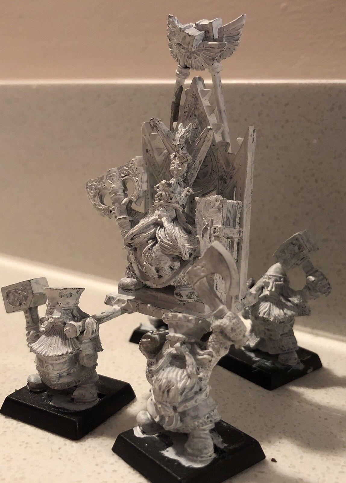 Warhammer fantasy battle Épuisé Dwarf King sur trône de puissance Apprêté METAL