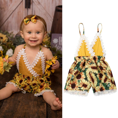 Canis Baby Girls Halter One-Pieces Romper Jumpsuit Sunsuit Outfit Clothes 0-24M