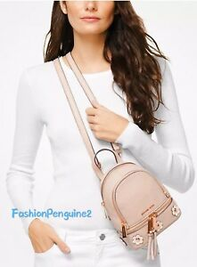13f13d2f676707 Image is loading Michael-Kors-Rhea-MINI-Floral-Applique-Leather-Backpack-