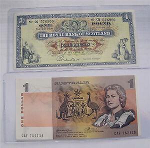 1966 Royal Bank of Scotland 1 pound, 1979 Australia 1 dollar P#325b P#42.c XF++