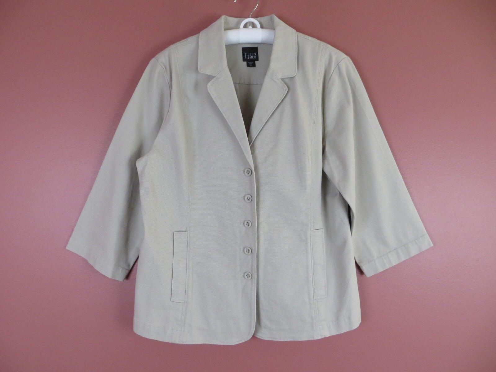 Cj0519- Eileen Fisher Damen 97% Organische Baumwolle Knopfverschluss Jacke Khaki