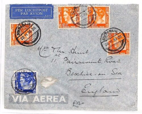 BF197 1935 DUTCH EAST INDIES Soerabaja GB BexhillonSea Airmail Cover