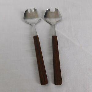 Besteck-Vintage-Hors-d-039-oeuvre-Set-Two-Piece-Brown-Handles-Salad-6-5-034-Long-w-Box