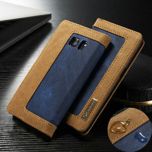 Canvas-Leather-Wallet-Card-Flip-Stand-Case-Cover-For-Samsung-Galaxy-S6-S7-Edge