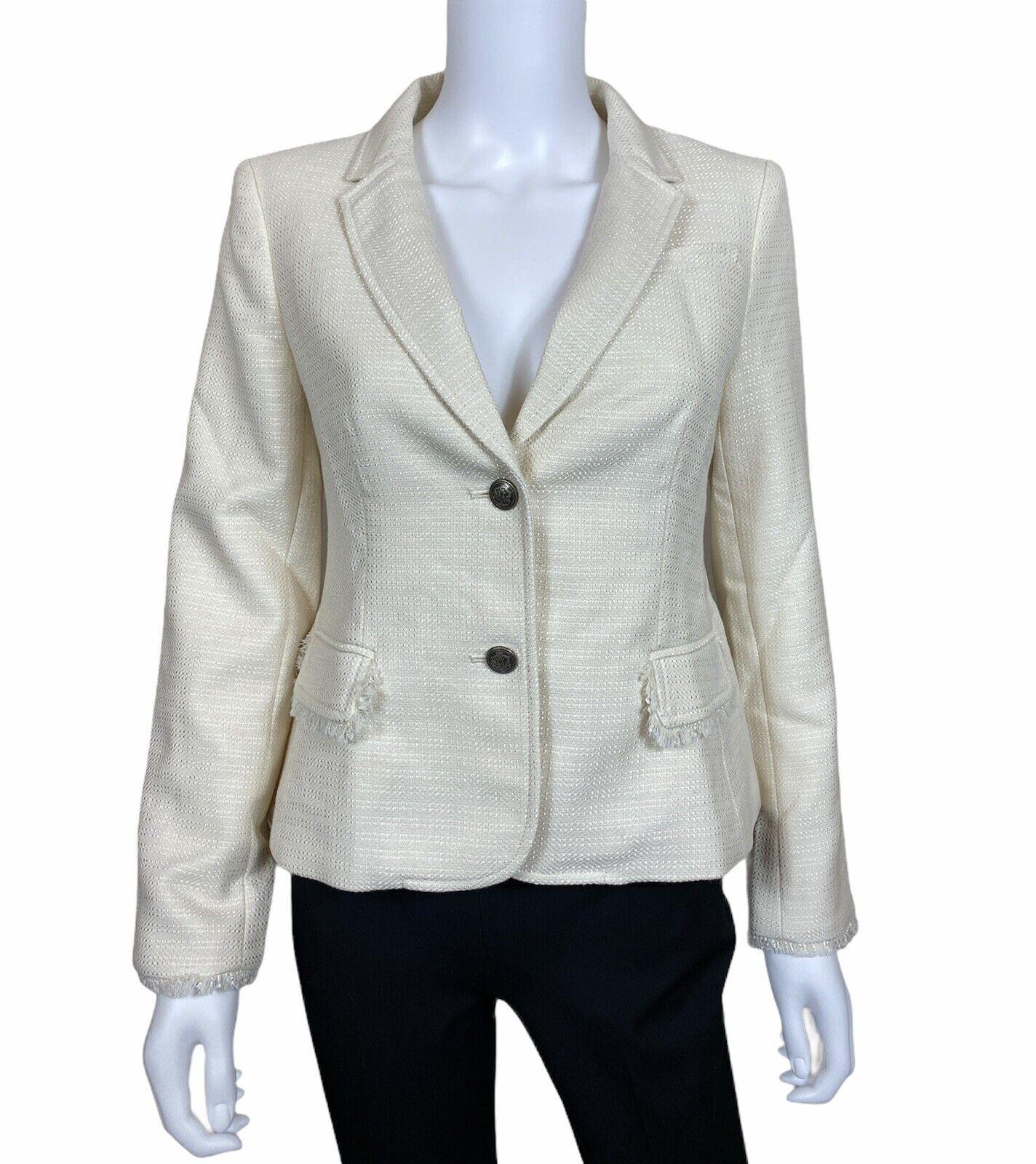 Banana Republic Women's Wool Blend Fringe Jacket Blazer size 6P Cream Ivory