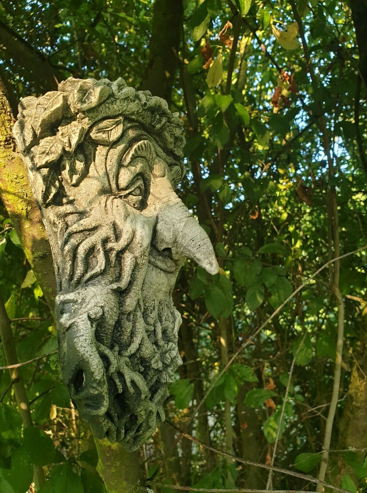 WAND RELIEF woodman GARGOYLE STEINGUSS FROSTFEST GREENMAN STEINFIGUR