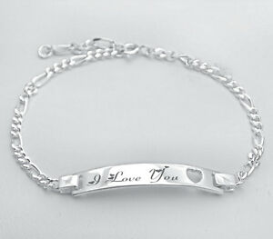 e6de4f38a4066 Details about PERSONALIZED .925 STERLING SILVER LADIES HEART STAMP ID  BRACELET CUSTOM ENGRAVED