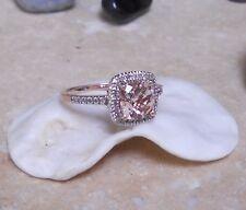 STUNNING!!  ESTATE 14K 7MM NATURAL PINK CUSHION MORGANITE AND  DIAMOND HALO RING