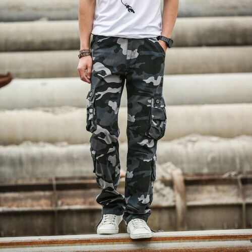 Men Camouflage Cargo Trousers Work Pants Pocket Casual Military Army Outdoor New